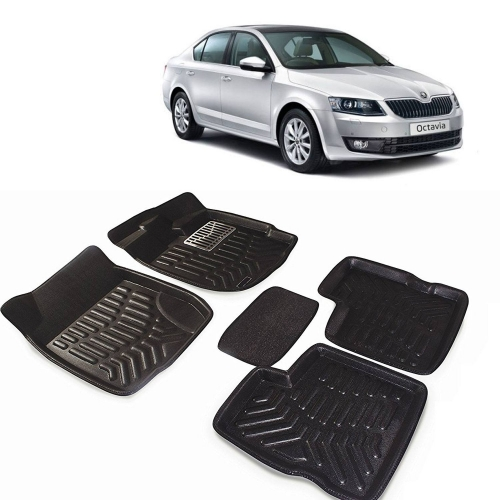 Premuim Quality 3D Car Floor Mats For Skoda Octavia (Beige & Black)