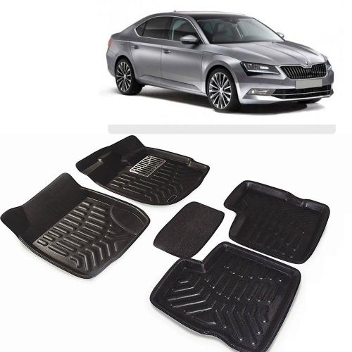 Premuim Quality 3D Car Floor Mats For Skoda Superb (Black & Beige)