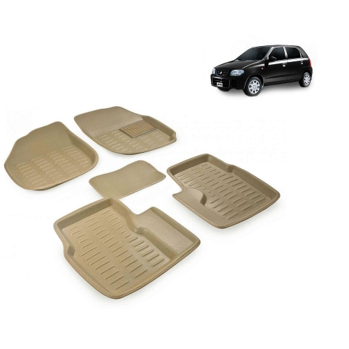 Premuim Quality 3D Car Floor Mats For Maruti Suzuki Alto Old (Beige & Black)