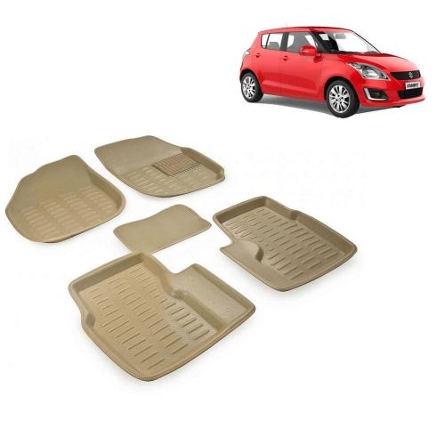 Premuim Quality 3D Car Floor Mats For Maruti Suzuki Swift (Beige & Black)