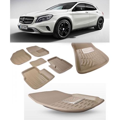 Premuim Quality Car 3D Floor Mats For Mercedes GLA Class (Black & Beige)