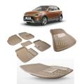 Premium Quality Car 3D Floor Mats For Hyundai I20 Elite (Black and Beige)