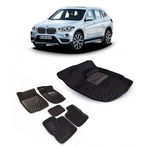 Premuim Quality Car 3D Floor Mats For BMW X1 (Black & Beige)