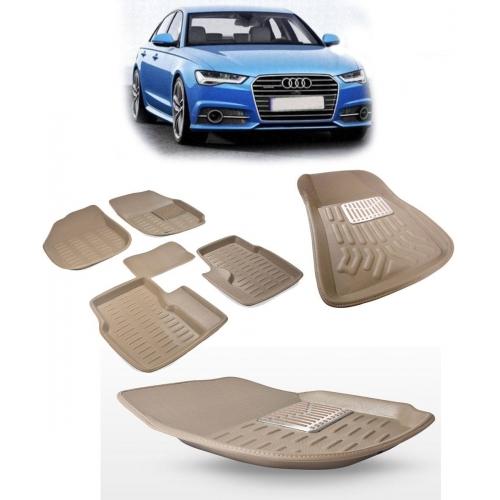 Premuim Quality Car 3D Floor Mats For Audi A6 (Black & Beige)