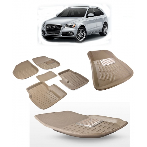 Premuim Quality Car 3D Floor Mats For Audi Q5 (Black & Beige)