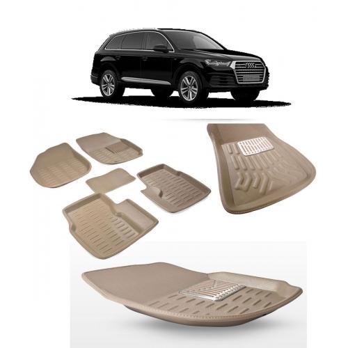 Premuim Quality Car 3D Floor Mats For Audi Q7 (Beige)