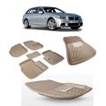 Premuim Quality Car 3D Floor Mats For BMW 5 Series (Black & Beige)
