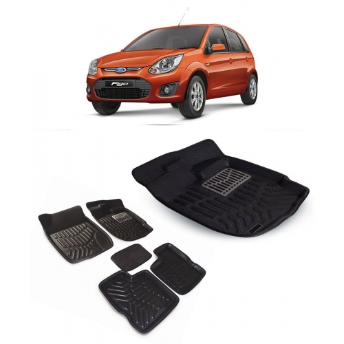Premuim Quality Car 3D Floor Mats For Ford Figo (Black)