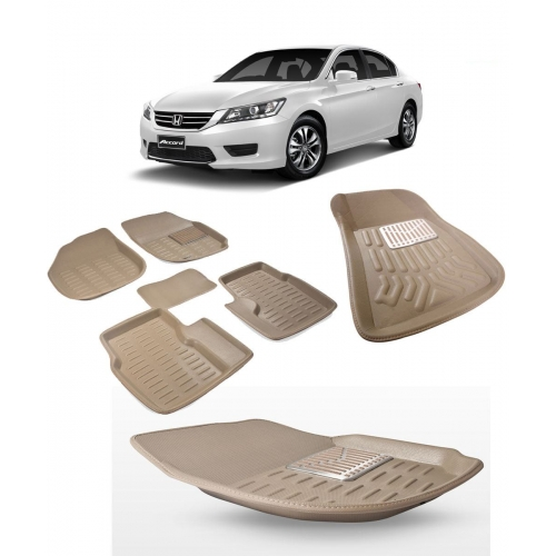 Premuim Quality Car 3D Floor Mats For Honda Accord (Beige)