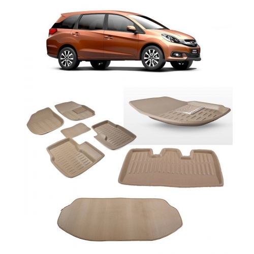 Premuim Quality Car 3D Floor Mats For Honda Mobilio With Dicky (Beige)