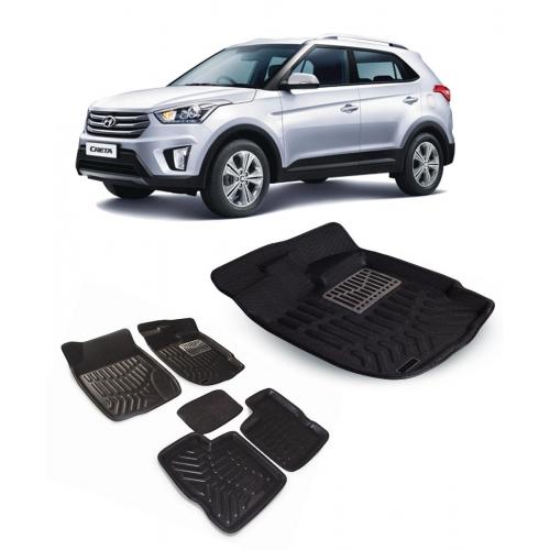 Premuim Quality Car 3D Floor Mats For Hyundai Creta (Black)