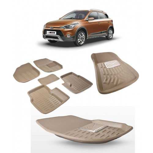 Premium Quality 3D Car Floor Mats For Hyundai I20 Active (Black and Beige)