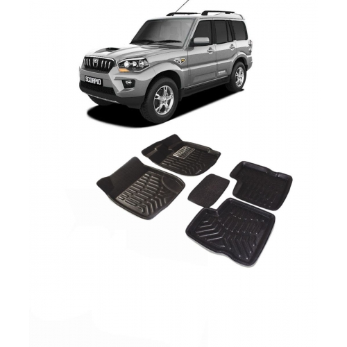 Premium Quality Car 3D Floor Mats For Mahindra Scorpio (Black)