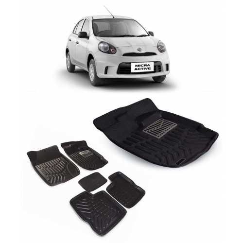 Premuim Quality Car 3D Floor Mats For Nissan Micra (Black)