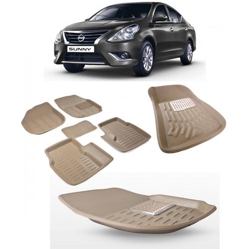 Premuim Quality Car 3D Floor Mats For Nissan Sunny (Beige)