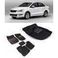 Premuim Quality Car 3D Floor Mats For Skoda Rapid (Beige and Black)