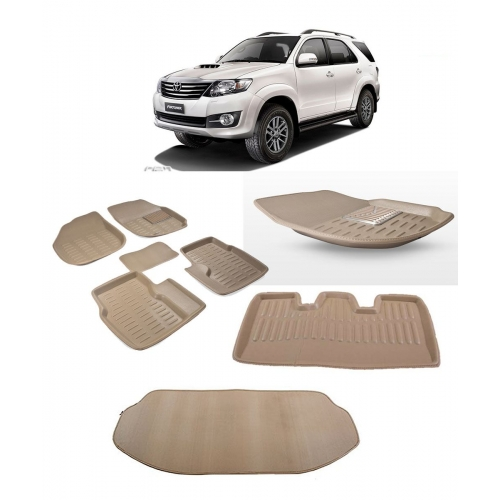Premuim Quality Car 3D Floor Mats For Toyota Fortuner With Dicky (Beige and Black)