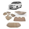 Premuim Quality Car 3D Floor Mats For Toyota Innova With Dicky (Beige and Black)