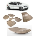 Premuim Quality 3D Car Floor Mats For Volkswagen Polo (Beige and Black)
