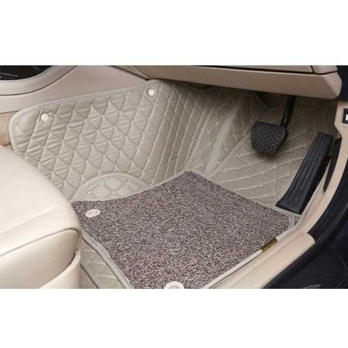 Honda Brio Premium Diamond Pattern 7D Car Floor Mats (Set of 3, Black & Beige)