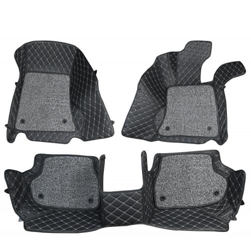 Maruti Swift Premium Diamond Pattern 7D Car Floor Mats (Set of 3, Black)