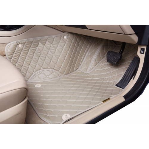 Jeep Compass Premium Diamond Pattern 7D Car Floor Mats (Set of 3, Black and Beige)