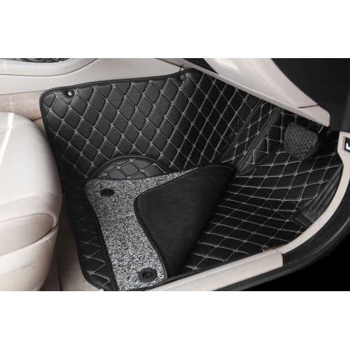 Hyundai New Verna Premium Diamond Pattern 7D Car Floor Mats (Set of 3, Black)