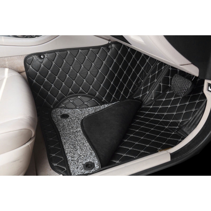 Honda Amaze 2018 Premium Diamond Pattern 7D Car Floor Mats (Set of 3, Black and Beige)
