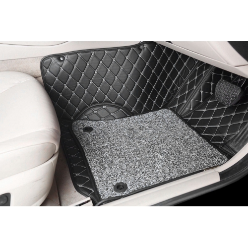 Hyundai Venue Premium Diamond Pattern 7D Car Floor Mats (Set of 3, Black)