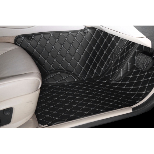 Toyota New Fortuner Premium Diamond Pattern 7D Car Floor Mats (Set of 4, Black and Beige)
