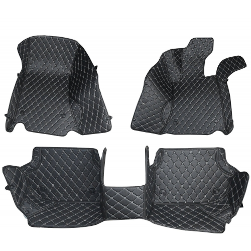 Toyota Yaris Premium Diamond Pattern 7D Car Floor Mats (Set of 3, Black)