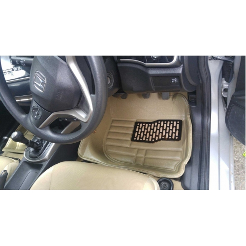 Honda City IDtech 2014 Premium 5D Car Floor Mats (Set of 3, Black & Beige)