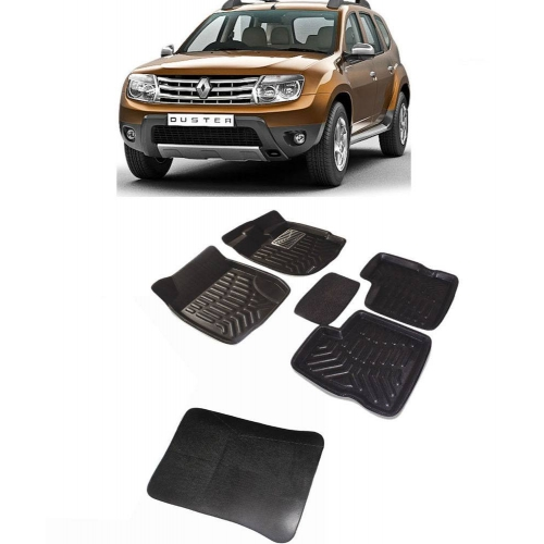 Premuim Quality Car 3D Floor Mats For Renault Duster With Dicky (Black & Beige)