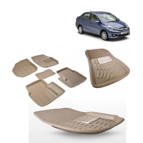 Premium Quality 3D Car Floor Mats For Honda Amaze (Black and Beige)