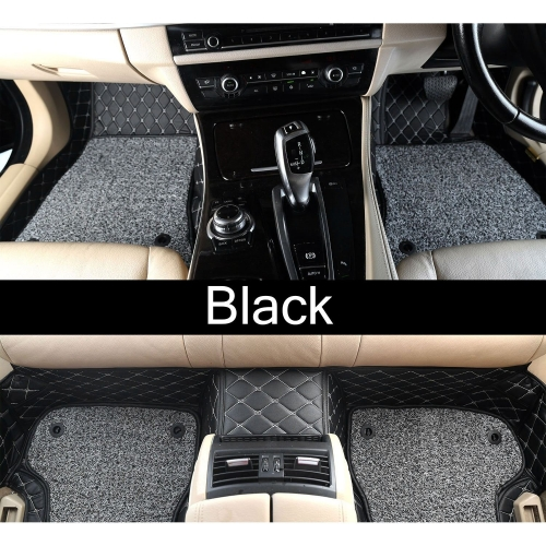 Audi Q5 Premium Diamond Pattern 7D Car Floor Mats (Set of 3, Black & Beige)