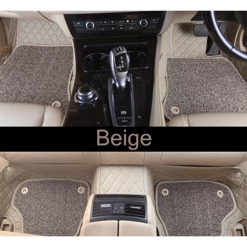 Toyota Old Fortuner Premium Diamond Pattern 7D Car Floor Mats (Set of 4, Black & Beige)
