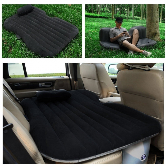 Premium Travel Inflatable Car Bed Sofa Mattress With Two Air Bed Pillows, Car Air Pump And Repair Kit Included