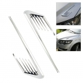 Car Side Air Flow Vent Hole Cover Fender Intake Grille Duct Decor Sticker Chrome Line Style