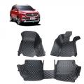 MG Hector Premium Diamond Pattern 7D Car Floor Mats (Set of 3, Black & Beige)