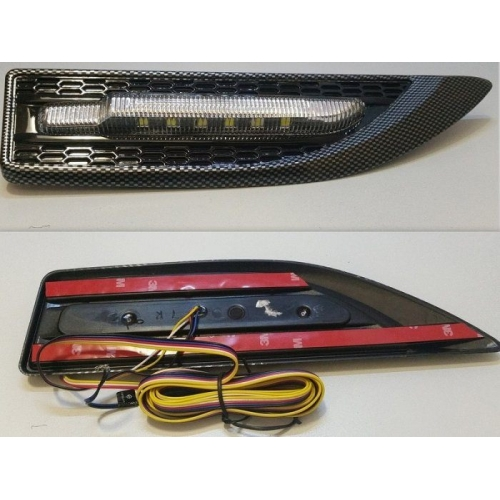 Car LED Multifunctional Side Fender Light Carbon Graphite Style For All Cars Set Of 2