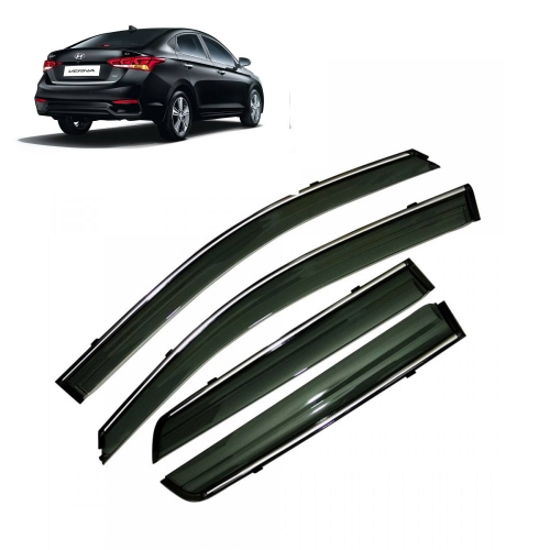 Car Window Door Visor With Chrome Line For Hyundai New Verna 2018
