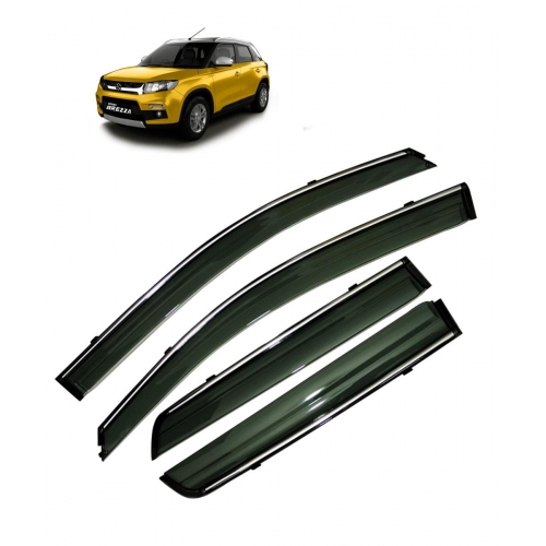 Car Window Door Visor With Chrome Line For Maruti Brezza (Imported)