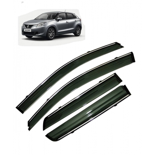 Car Window Door Visor With Chrome Line For Maruti New Baleno (Imported)