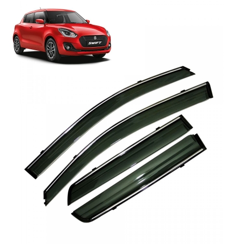 Car Window Door Visor With Chrome Line For Maruti New Swift 2018