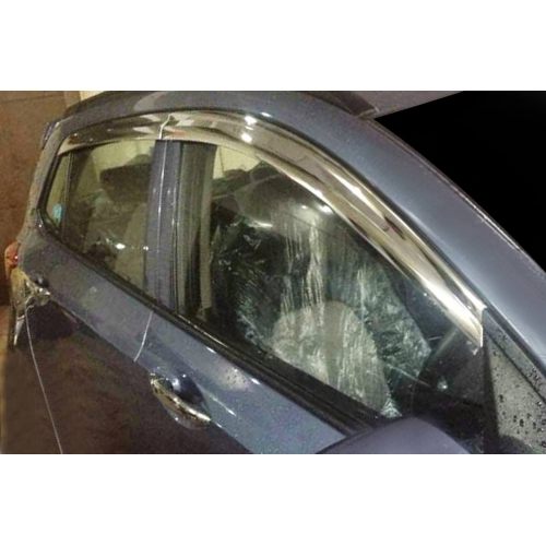 Autoclover Full Chrome Window Door Visor Deflector For Hyundai Grand i10