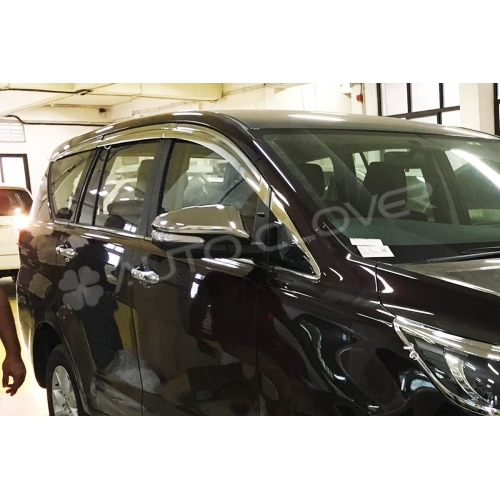 Autoclover Full Chrome Window Door Visor Deflector For Toyota Innova Crysta