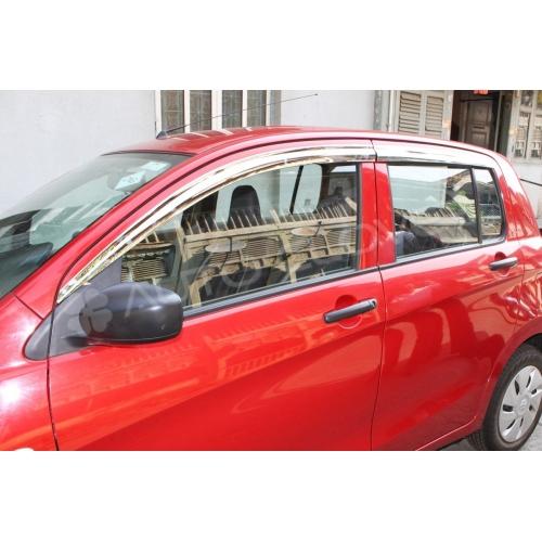 Autoclover Full Chrome Window Door Visor Deflector For Maruti Suzuki Celerio
