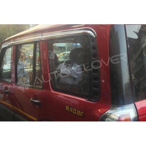 Autoclover Full Chrome Window Door Visor Deflector For Mahindra Scorpio New