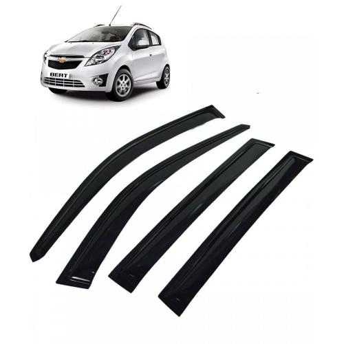 Car Window Door Visor For Chevrolet Beat Set Of 4 (Black)