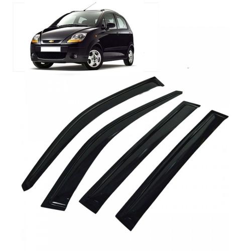 Car Window Door Visor For Chevrolet Spark Set Of 4 (Black)
